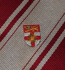 Crested polyester tie red grey stripes Vintage corporate school company club
