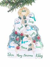 Christmas Ornament Snowmen family of six personalized with your names free (F60)