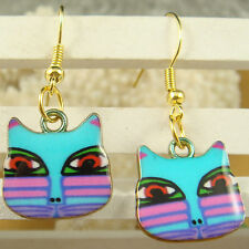 1pair Women Lady Elegant cat charm dangle Earrings listed hook a2wkju