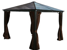 Alu. Hard Top Gazebo Casa - 10x10, Privacy Curtains + Mosquito Netting Incld