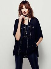 NWT Free People S Summer Lovin Black Eyelet Lace Boho Peasant Blouse Shirt Top