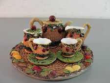 COLLECTIBLE MINI TEA SET PLATTER CUP SAUCER CREAMER POT COLD CAST WICKER FRUIT