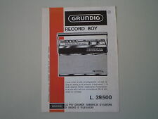 advertising Pubblicità 1966 RADIO GRUNDIG RECORD BOY