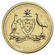 $1 Coin 2008 Australia's Original Coat of Arms C Canberra Mintmark Dollar UNC