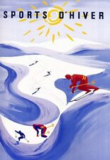Art Poster Sports D'Hiver Ski Travel  Print
