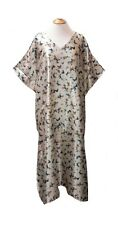 Ladies cream with butterflies print satin long kaftan/beach dresses.UK10-32