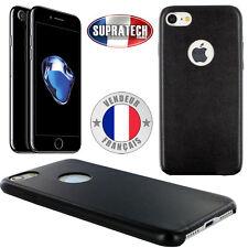 Housse Coque Arrière de Protection en Simili Cuir Noir pour Apple iPhone 7