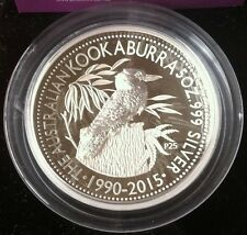 2015 5OZ Australian Kookaburra High Relief Proof 25th Anniversary W/Box/COA