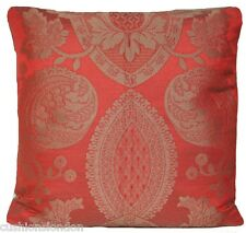 Red Cushion Cover Pierre Frey Silk Cotton Fabric Olbia Granata Damask 18""