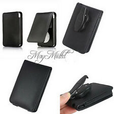 Black Leather Flip Case Cover Skin for Apple iPod Classic 80GB 120GB 160GB O