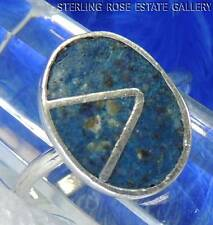 INLAID BLUE TURQUOISE Sterling Silver 0.925 Estate RING size 5