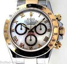 Rolex Daytona Two Tone Watch 116523 With  White Pearl Roman Dial, Box & Booklets