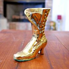 VINTAGE Brass Victorian Ladies Lace Up Boot Mid Century Decoration