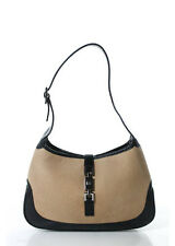 GUCCI Tan Felt Gunmetal Tone Black Leather Accent Jackie Hobo Shoulder Handbag