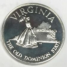 C2178    FRANKLIN  MINT  STERLING  SILVER  MEDAL,  STATE OF  VIRGINIA
