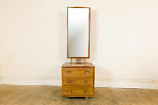 Vintage Retro Ercol Blone Light Elm Dressing Drawers with Tall Mirror