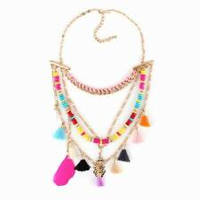 bib gold plated chain colorful wood bead feather pendant tassel women necklace