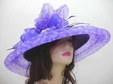 "PURPLE DERBY HAT 22 1/2"" Circumference WIDE BRIM HORSE RACE HATS"