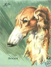 CARD BON POINT Barzoi Lévrier Russe Russian wolfhound CHIEN DOG 60s