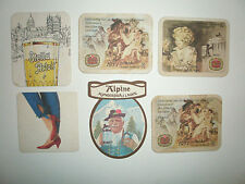 SIX MATS FROM THE 1970'S - 80S 4 STELLA ARTOIS 1 ALPINE AND 1 HARP