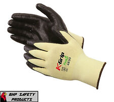 (6 PACK) KEVLAR CUT RESISTANT WORK GLOVES W/ NITRILE PALM SIZE LARGE LIBERTY