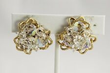 50s 60s VINTAGE Jewelry VENDOME SIGNED HIGH END CRYSTAL SCREW & CLIP EARRINGS