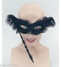 NEW LADIES WOMENS NEW BLACK LACE FACE MASQUERADE VENETIAN BALL EYE MASK ON STICK