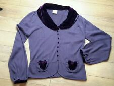 NEXT purple heather cardigan velvet collar bowties retro smart pin-up size 14 12
