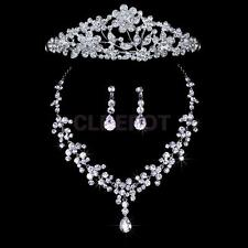 Elegant Wedding Party Bridal Crystal Necklace Earring Set+Rhinestone Crown Tiara