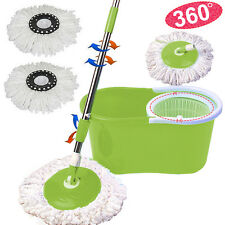 Microfiber Spining Magic Spin Mop W/Bucket 2 Heads Rotating 360°Easy Floor