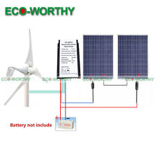 600W/H Power Kit: 400W Wind Turbine Generator & 200W 2*100W Solar Panel Charger
