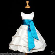 IVORY BAPTISM COMMUNION BRIDAL BUBBLE FLOWER GIRL DRESS SIZE 2 4 6 8 10 12 14 16