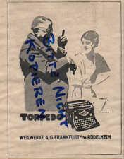 FRANKFURT, Werbung / Anzeige 1924, Weilwerke AG TORPEDO Schreibmaschinen