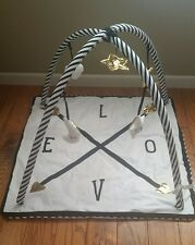 NIB Pottery Barn Kids Emily & Meritt LOVE Activity Gym play mat black white gold
