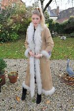 BNWT Kryos Genuine Mongolian Lamb Skin Full Length Sheepskin Fur Coat