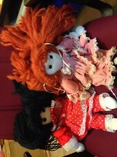 Lot of 2 Adorable Handmade  Dolls With Yarn Hair