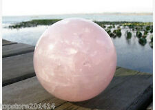 NATURAL PRETTY ROSE QUARTZ CRYSTAL SPHERE BALL HEALING 35mm+stand
