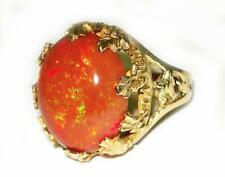 Victorian Ornate 13.5CT Mexican Fire Opal Cocktail Ring 14K Yellow Gold 12.8g