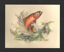 *Vintage* 1970's FRED SWENEY Wildlife 3-D EMBOSSED Print GOLDEN TROUT Fish NOS