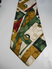 Empire High Fashion Brown Green Maroon and Cream Geometric Silk Necktie