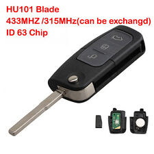 Remote Folding Flip Car Key Fob HU101 Blade 63 Chip 433MHz For Ford Focus + Logo
