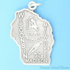 WISCONSIN STATE MAP MADISON MILWAUKEE .925 Solid Sterling Silver Charm Pendant