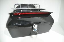 Black Motorcycle Trunk Tail Box Luggage W/Top Rack Backrest Taillight for Honda
