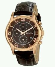 Bulova Men's Rose Steel Chronograph Brown Leather Watch 97B120. New In Box. 334