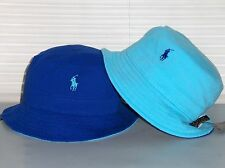 POLO RALPH LAUREN Mesh Bucket Hat, REVERSIBLE Cap, Pony, Royal Blue, Aqua, S/M
