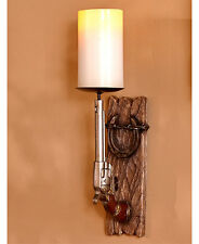 Cowboy Rustic Horseshoe Candle Holder Western Gun Pistol Pillar Holder Wall Art