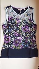 TED BAKER Dark Blue Enchantment vest purple floral Tee shirt Ted size 1 UK 8 XS