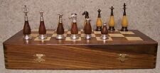 "Chess Set with folding Wood Board Storage Box Wood & Metal pieces 3¾"" Kings NEW"