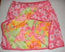 Lilly Pulitzer 10 Reversible Wrap Skirt Pigs In A Blanket & Patchwork RARE