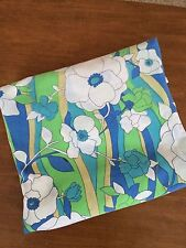 Vintage Flower Full Double Flat Sheet Mod Floral Retro Hippie 1970's Blue Green